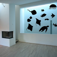 Fish Sea Creatures Set of Twelve Vinyl Wall Decals Sea Turtle Jellyfish Rays 22411