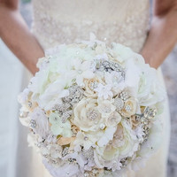 Softest white handmade flower brooch bouquet -- deposit on a made-to-order wedding bouquet