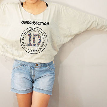 Flower 1D Shirts One Direction Shirts Rock Shirts Bat Sleeve Shirts Crop Shirts Long Sleeve Oversized Sweatshirt Women Shirts - FREE SIZE