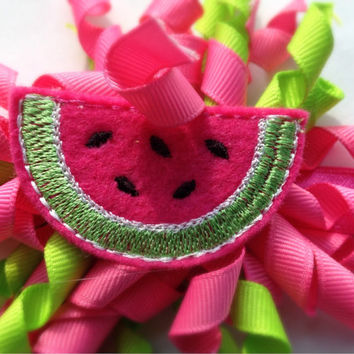 Watermelon Headband - Hot Pink Headband - Pink Watermelon Hairbow - Pink Korker Headband - Summer Headband - Summer Photo Prop for Baby -