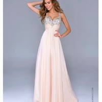 Nude Chiffon & Beaded Bodice Gown