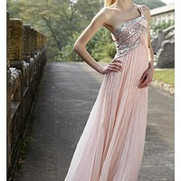 Buy In Stock Sequins One Shoulder Pleat Dress 80168