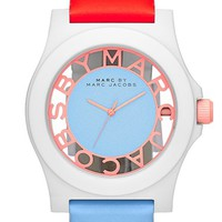 MARC BY MARC JACOBS 'Block' Two-Tone Leather Strap Watch, 41mm