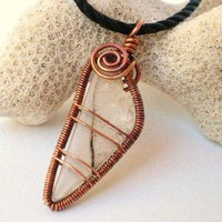 Pendant Translucent White Stone Wrapped in Coiled Copper Frame Spirals | JewelryArtByDawn - Jewelry on ArtFire