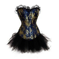 MUKA Women's Brocade Lace Corset And Petticoat Set, Halloween Costume, Gift Idea