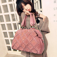 Wholesale The van with skin rivets car suture single shoulder bag SC-B1336 pink - Lovely Fashion