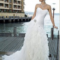Buy Beautiful Taffeta Sweetheart Ruffles Charming Wedding Dress(white)