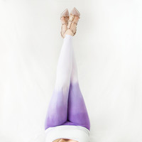 Yoga Leggings Womens Purple Ombre Radiant Orchid Lilac Tights SMALL Crossfit Workout Pants Hand Dyed Dip Dye Mint