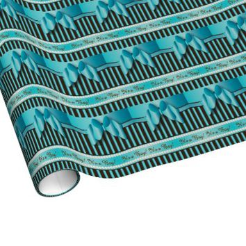 Gift Wrap - Elegant Blue and Brown Baby Boy