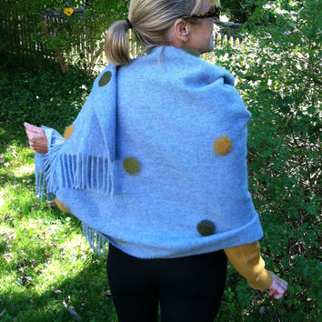 Blue Polka Dot Alpaca Pashmina Wrap Custom