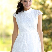 The Lace Is On Dress-White