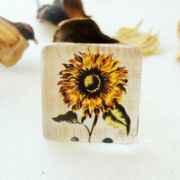 Antique Sunflower Glass Tile Ring Vintage  Floral 7/8 Inch Square