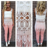 All Natural Crochet Fringe Top