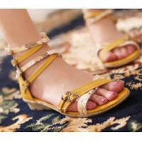 Wholesale Summer simple refreshing thin ribbons combination flats Z-YN209 yellow - Lovely Fashion