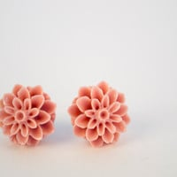 Coral Dahlia Flower Earrings