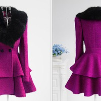 Hot sell black fur collar with purple woolen long coat
