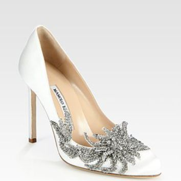 Manolo Blahnik - Embellished Satin Point Toe Pumps - Saks.com