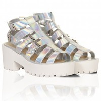Silver Holographic Strapped Buckle Chunky Sandals - from Lavish Alice UK