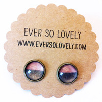 pink and gray striped metallic earrings handmade by EverSoLovely