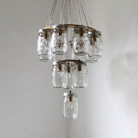 Mason Jar Chandelier  Mason Jar Lighting  3 Tier by BootsNGus