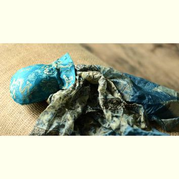 Bundle of joy ~ Tebi silk scarf & silk pouch (Blue 2)