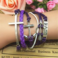 MagicPieces Anchor Braid Cross Arrow 5 Layers Purple Handmade MultiLayered Bracelet For Women's Teens Friendship Birthday Gift