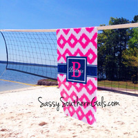 Personalized / Monogrammed Beach Towel, Microfiber Velour Beachtowel