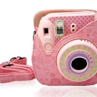 Light Pink Cute Cartoon Leather Fujifilm Fuji Mini 8 film Fuji Instax Mini 8 Case
