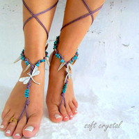 Barefoot Sandals Barefoot Beach Jewelry barefoot sandal, purple  cotton cord,  silver dragonfly Hippie Sandals Foot Jewelry Toe Thong