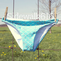 Turquoise Mermaid Bikini Bottoms Shiny Fish Scale