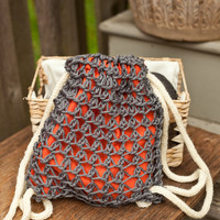 Knit Drawstring Back Pack 10 inches tall