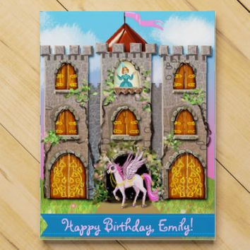 Castle with unicorn and princess sweet countdown