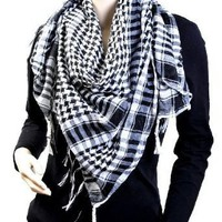 Houndstooth Square Shawl, Black and White