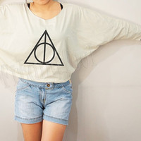 Deathly Hallows Shirts Symbol Harry Potter Shirts Text Shirts Bat Sleeve Shirt Crop Long Sleeve Oversized Sweatshirt Women Shirt - FREE SIZE