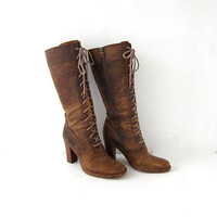 vintage Frye boots. Tall leather lace up boots. High heel victorian boots. size 9