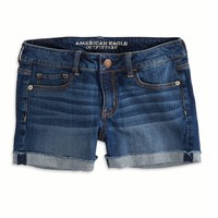AEO Factory Women's Cuffed Denim Midi Short (Bright