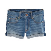 AEO Women's Factory Hi-rise Denim Shortie (Medium Wash)