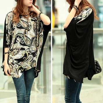 NEW Fashion Womens Batwing Sleeve OverSize T Shirt Casual Loose Long Tops Blouse