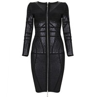 Black Luxury Noble PU Zipper Long Sleeve Bandage Dress H706