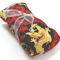 MICROWAVE Neck Heat Pad - Long Therapeutic Rice bag w/wo Lavender  scent - dragon and fire
