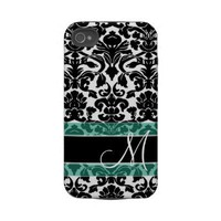 Damask Pattern with Monogram Iphone 4 Tough Cover from Zazzle.com