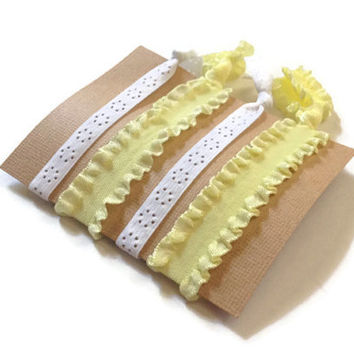 Fancy Elastic Hair Ties Yellow Ruffle and Skinny White Yoga Hair Bands