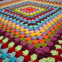 Gorgeous Vibrant Rainbow Granny Square Blanket by Thesunroomuk
