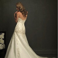 Buy Chic Organza&Satin A-line Strapless Neckline Wedding Dress With Embroidery and Beadings
