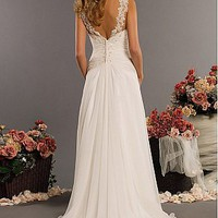 Buy Elegant Chiffon Sheath Spaghetti Straps Neckline Wedding Dress For Your Beach Wedding