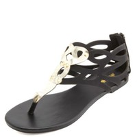 Gold-Embellished Laser Cut-Out Thong Sandals