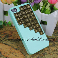 Green Hard Case Cover With Antique Brass Studs For iPhone 4 4s
