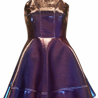 Metallic Two Tone Skater Dress