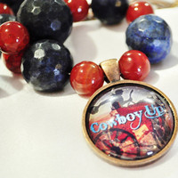 Southwestern cowboy chunky beaded necklace lapiz lazuli and orange agate