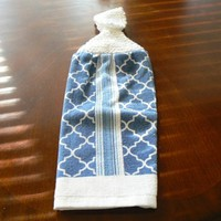Blue Geometric Hanging Dish Towel With Hand Knit Button Topper Closure